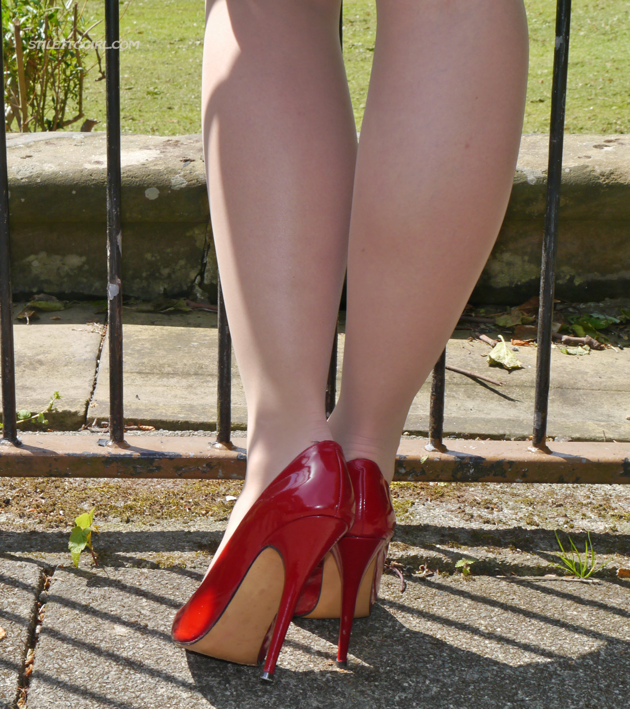 Sheer Nude Pantyhose Feet in Sexy Red High Heels by StilettoGirl Gallery
