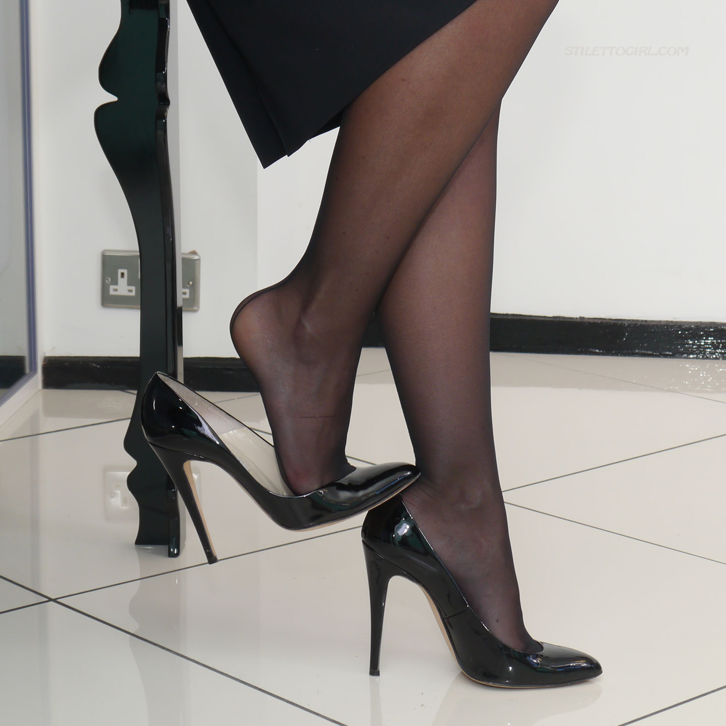 Black Pantyhose and High Heels