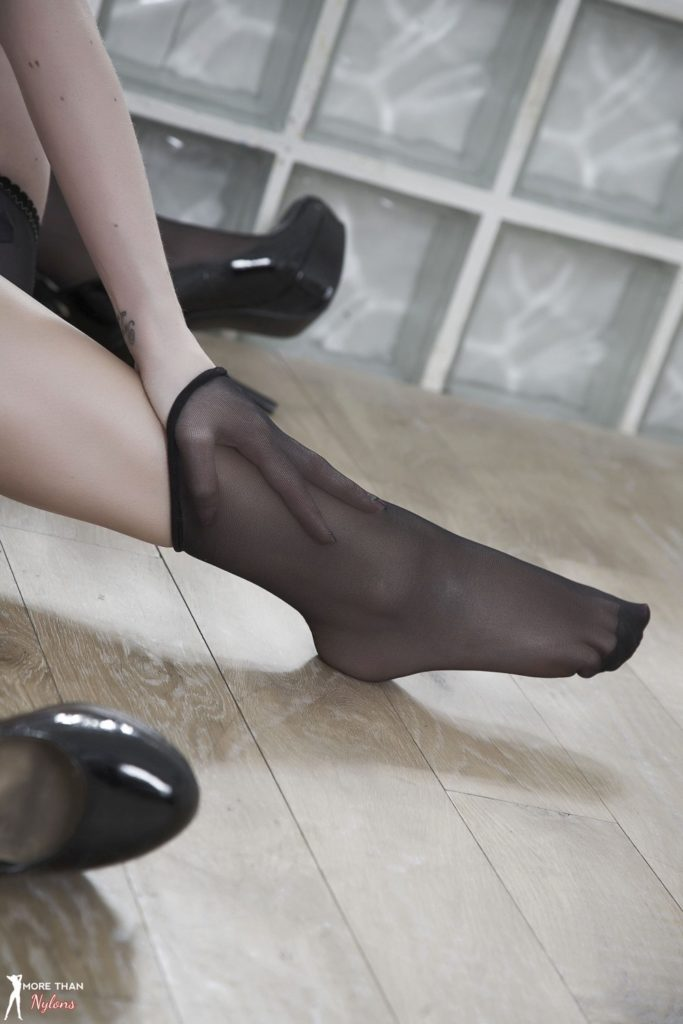 Sheer Black Nylon Socks