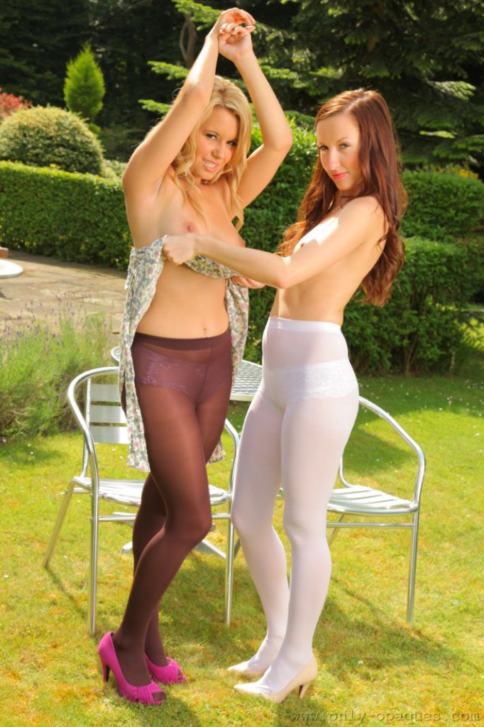 Sophia Smith and Michelle X Outdoors in pantyhose