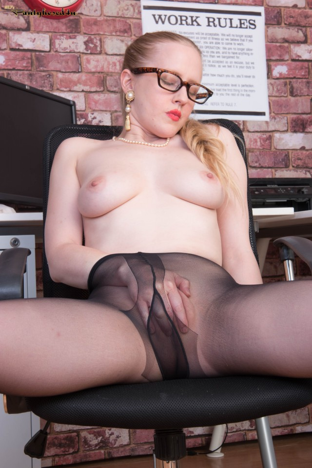 Office Secretary Lucy in Black Pantyhose
