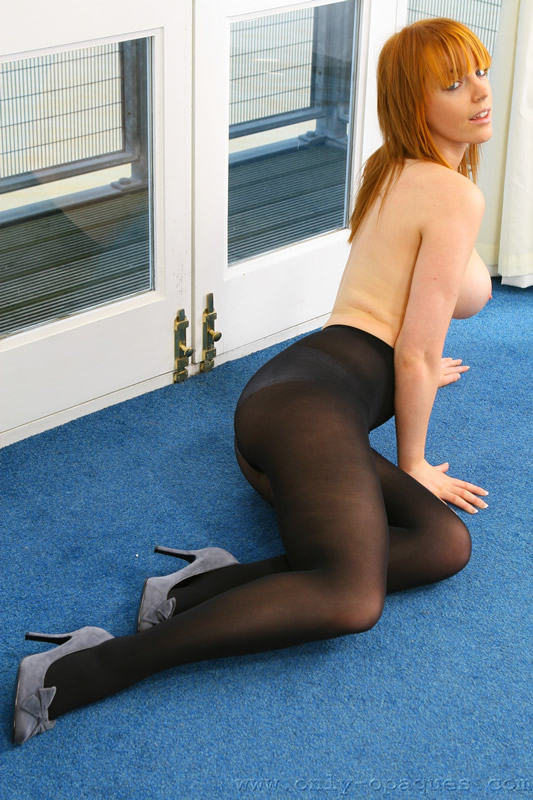 Sexy Redhead in Opaque Black Pantyhose over Panties