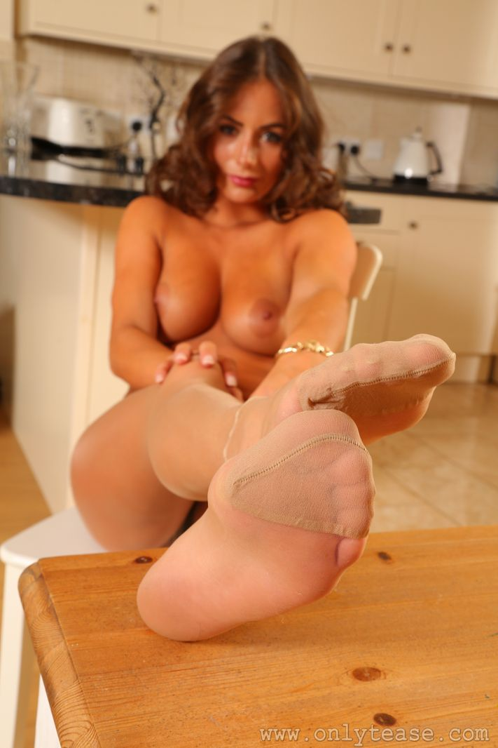 Sexy pantyhose feet and pantyhose over panties