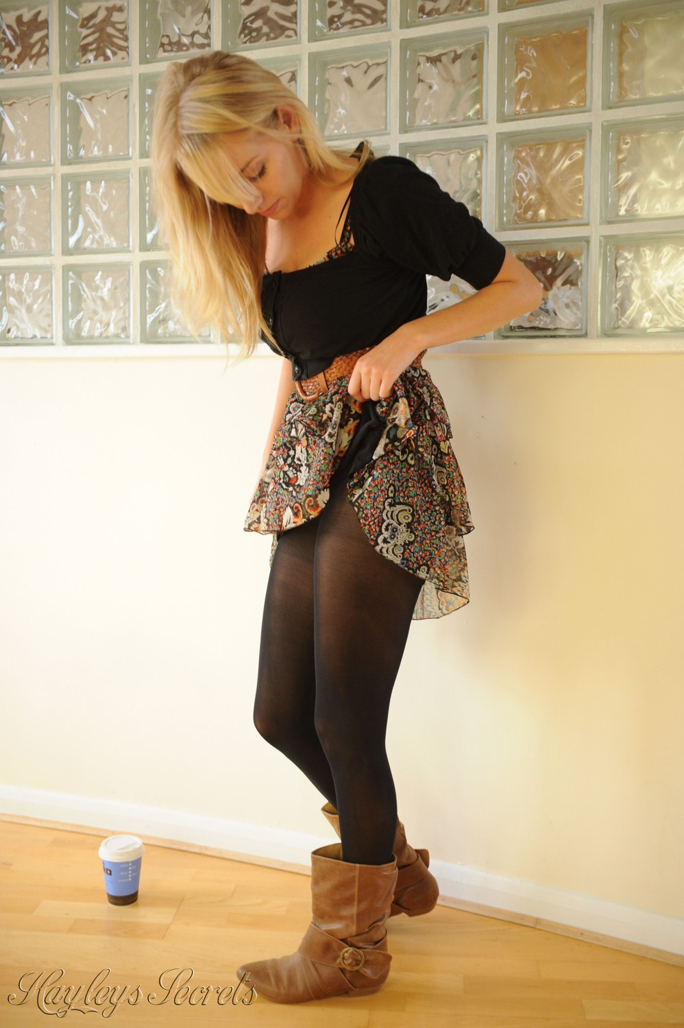Hayley Marie Coppin Black Pantyhose