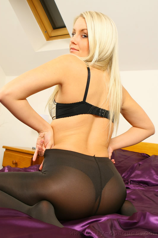 Blonde Babe in Sheer Opaque Black Pantyhose