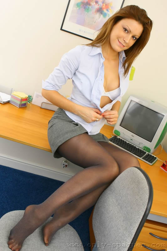 Office Babe in Black Pantyhose over Panties