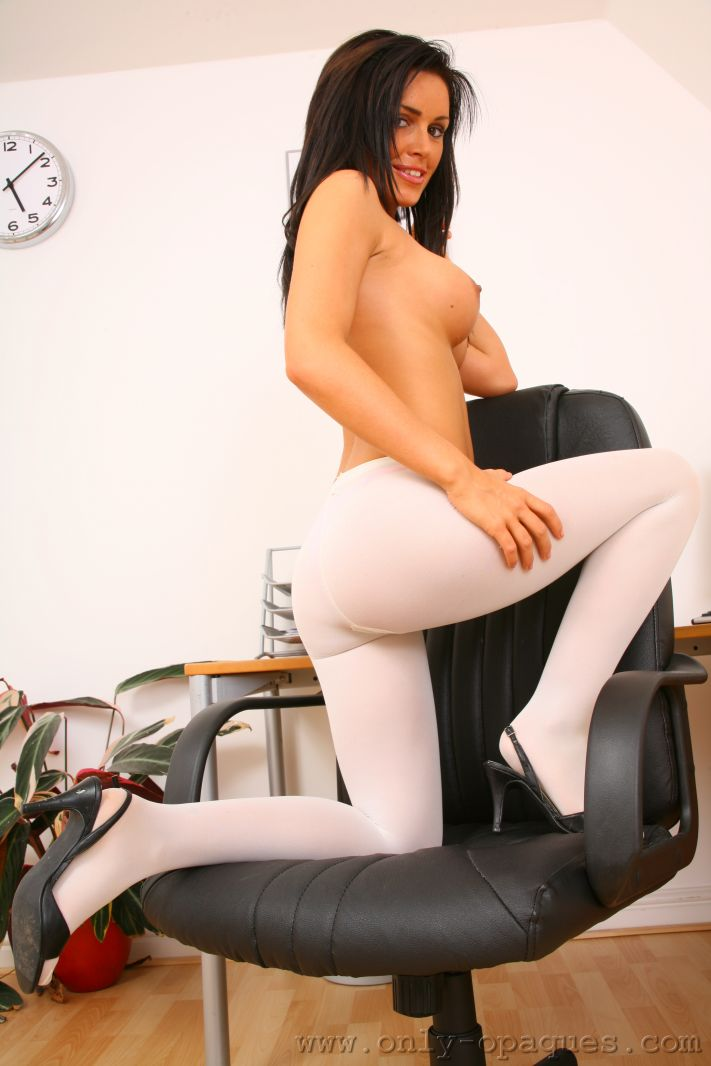 Office Babe in White Opaque Pantyhose