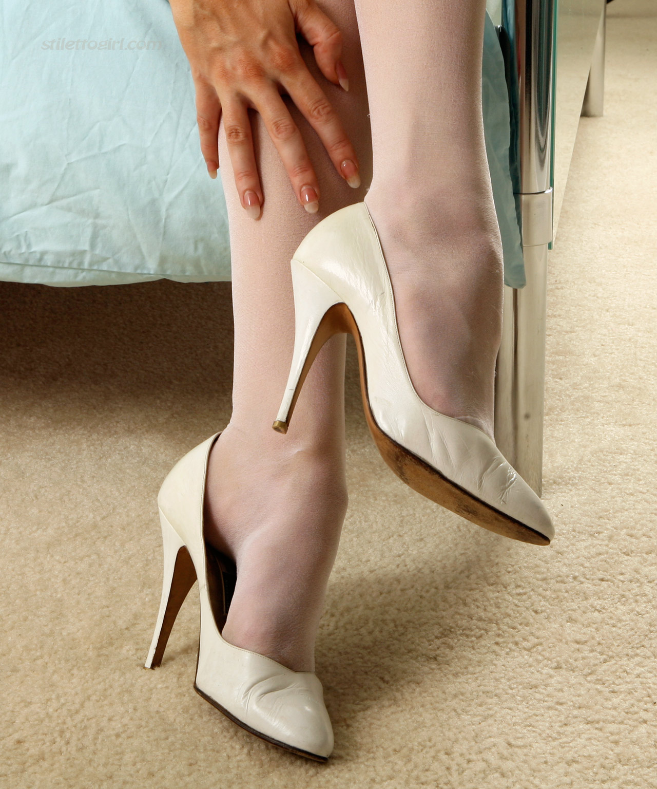 White Nylons and High Heels by Stiletto Girl