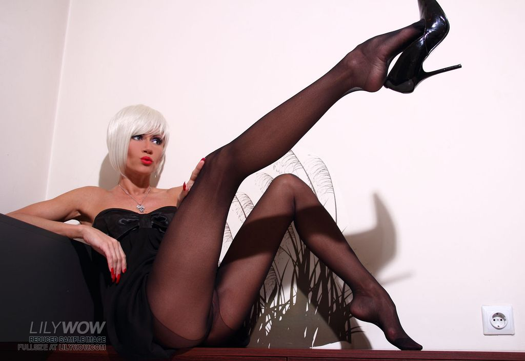 LilyWOW in Sexy Sheer Black Pantyhose