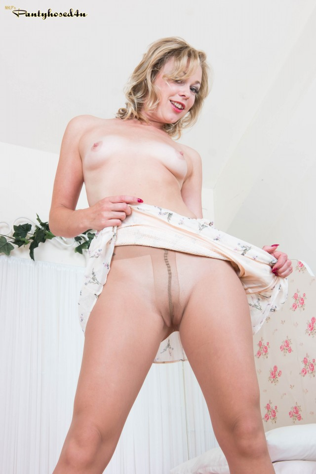 Blonde Babe Lucy in Sheer to Waist Pantyhose