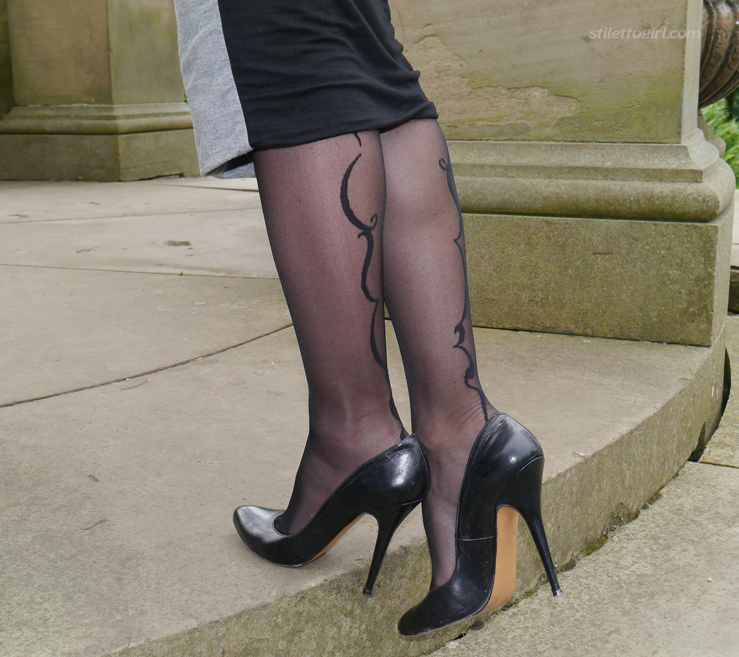 High Heels and Black Pantyhose by Stiletto Girl