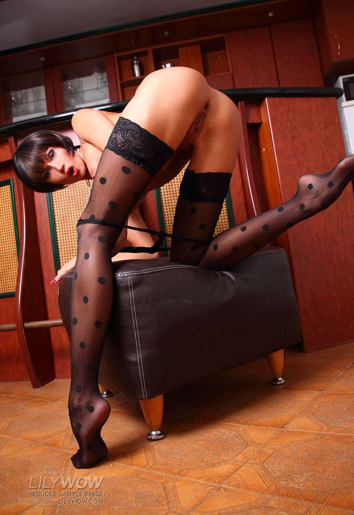 LilyWOW Black Polka-dot Stockings