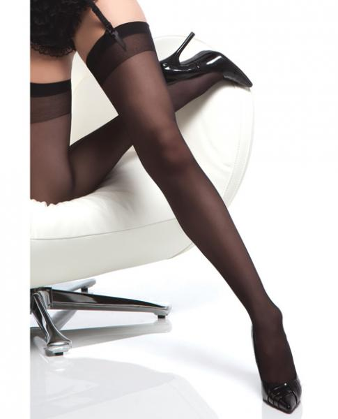 Sheer Thigh High Stocking Back Seam Black www.essentialerotics.com