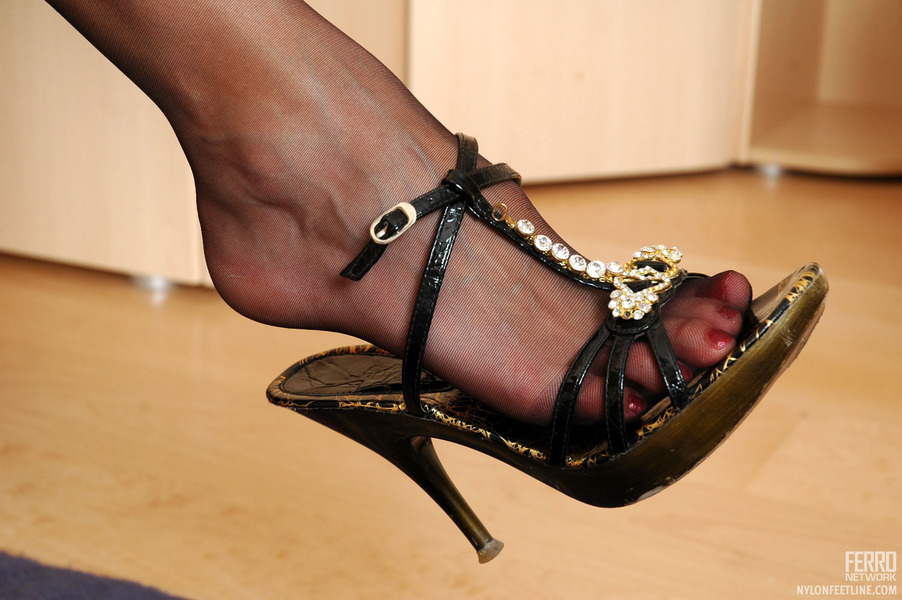 Black Pantyhose Feet and High Heels