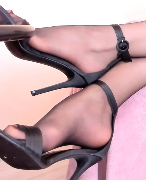 High Heels and Black Pantyhose Feet