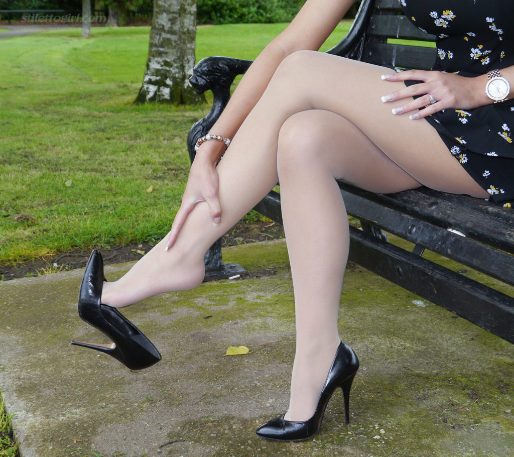Sheer White Pantyhose and Black High Heels by Stiletto Girls