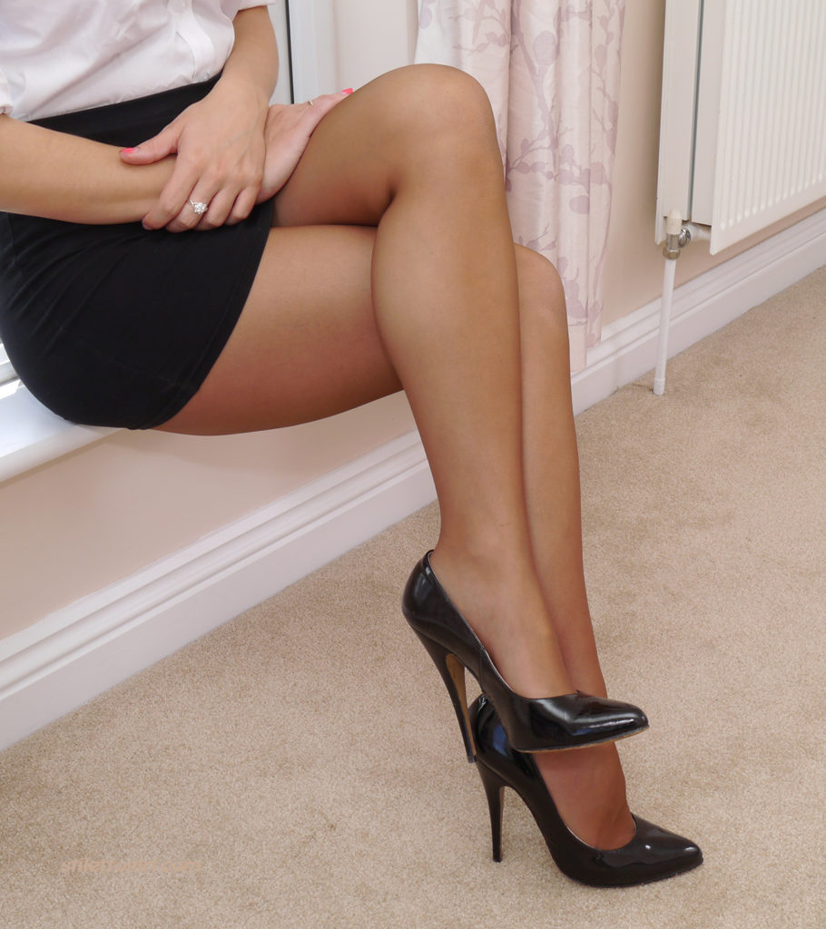 Pantyhose Legs and Black High Heels by Stiletto Girl
