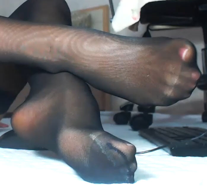 Black Stockings over Suntan Pantyhose and Sexy Feet