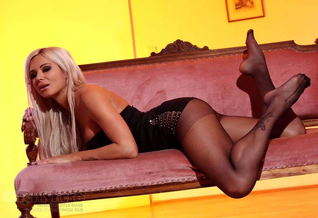 Sexy Blonde in Black Pantyhose