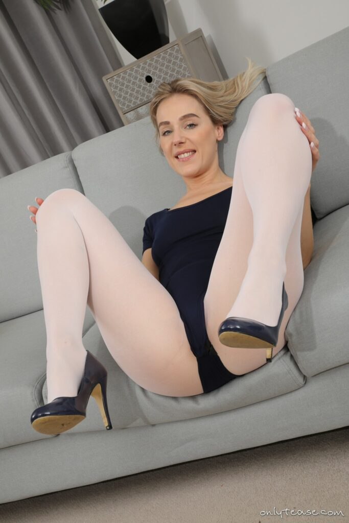 Aston Wilde from Only Tease in a leotard with high heels and white pantyhose